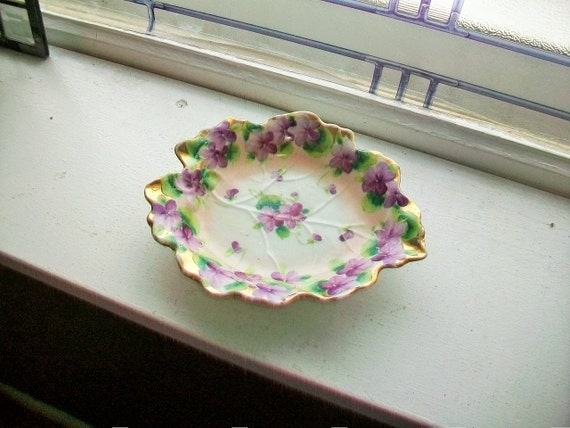 Vintage Nut Dish or Candy Dish Leaf Shaped with Purple Flowers and Gold Trim