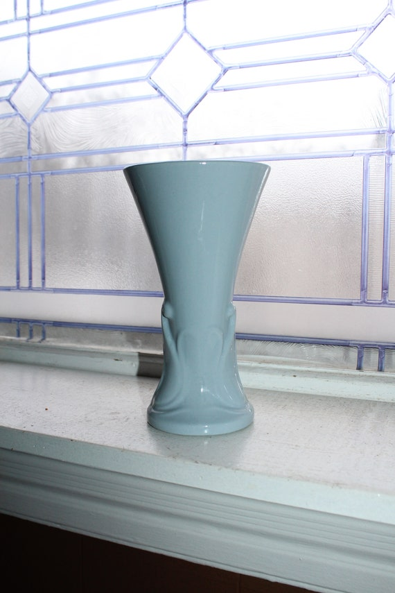 Mid Century Pottery Trumpet Vase Pastel Blue