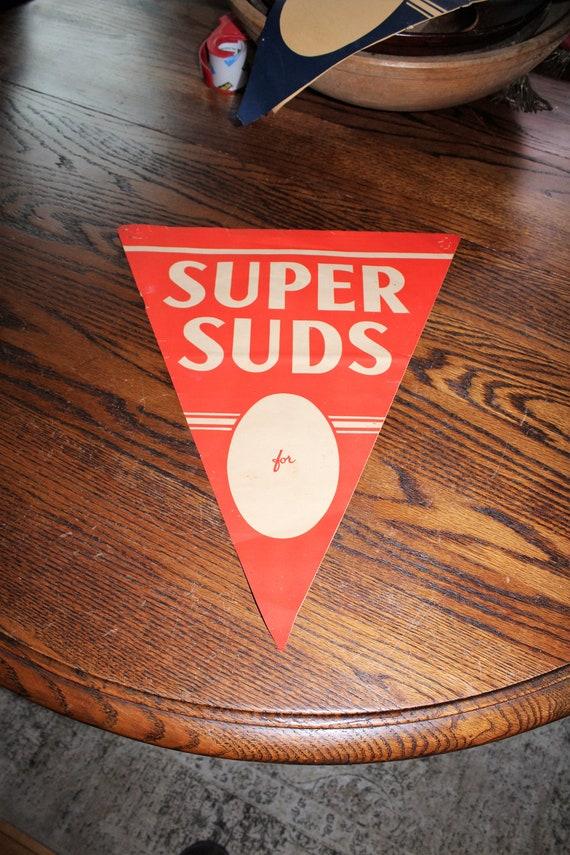 Vintage Super Suds Store Banner Sign 1930s