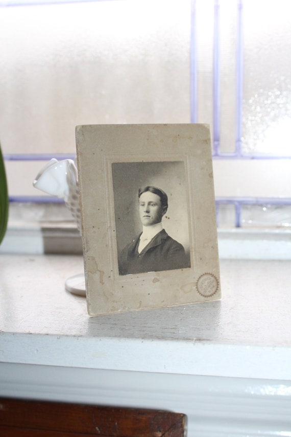 Vintage 1800s Cabinet Card Photograph Handsome Young Victorian Man
