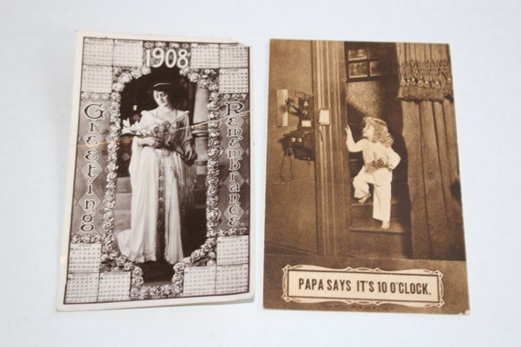2 Antique Postcards 1908 Calendar and Humorous