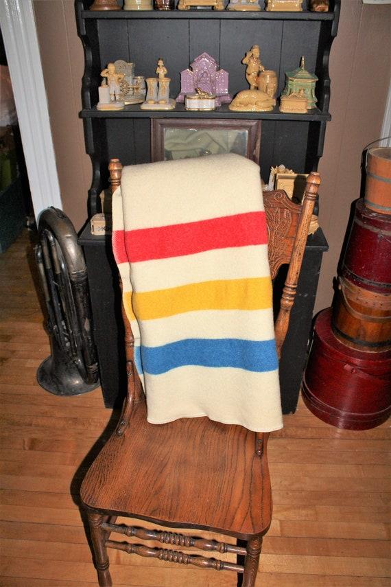 Vintage 1930s Wool Camp Blanket Hudson Bay Style Striped Blanket