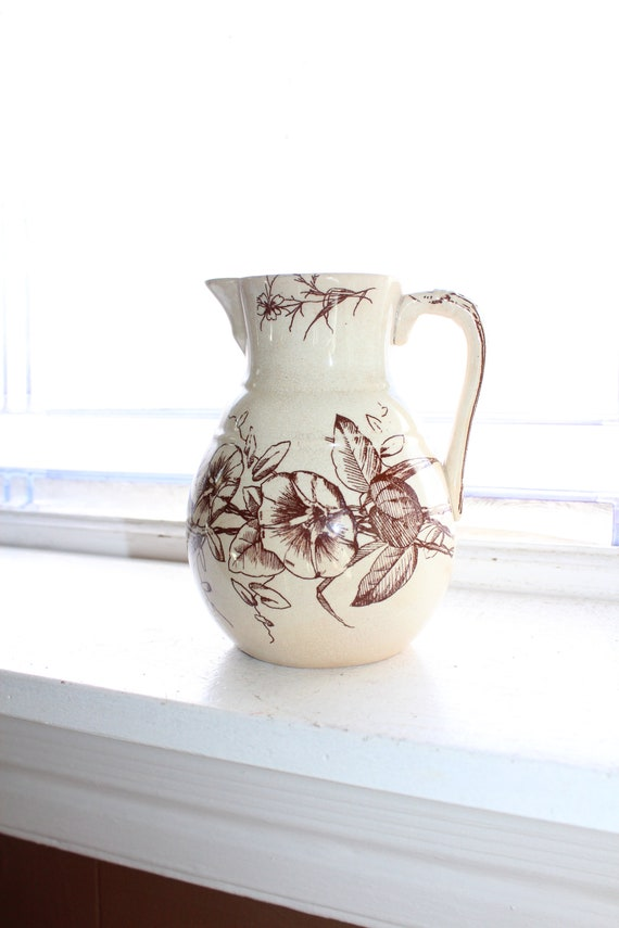 Antique Brown Transferware Syrup or Milk Pitcher Circa 1800s