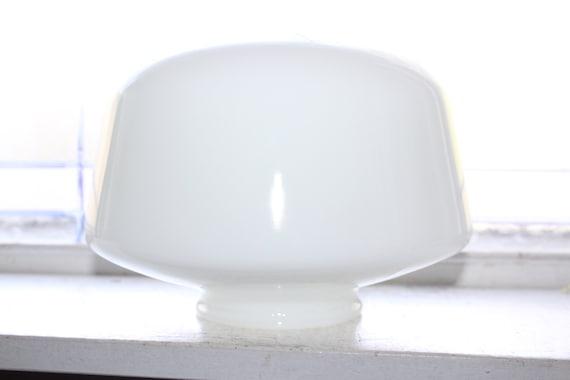 "Vintage Mid Century Milk Glass Schoolhouse Light Globe 9"" Shade"