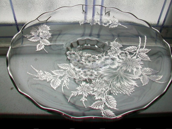 Vintage Cambridge Glass Cake Stand Silver Overlay Floral Harp Pedestal