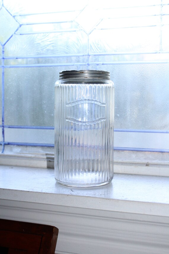 Antique Hoosier Cabinet Large Ribbed Jar