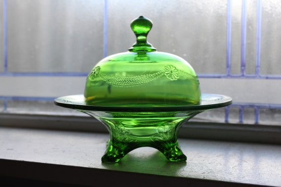 EAPG Domed Butter Dish Antique 1900s Victorian Green Glass Opalescent