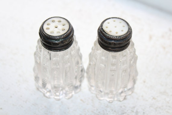 Antique Salt and Pepper Shakers Crystal Sterling Silver & Mother of Pearl