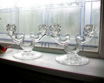 Vintage Glass Candle Holders Pair