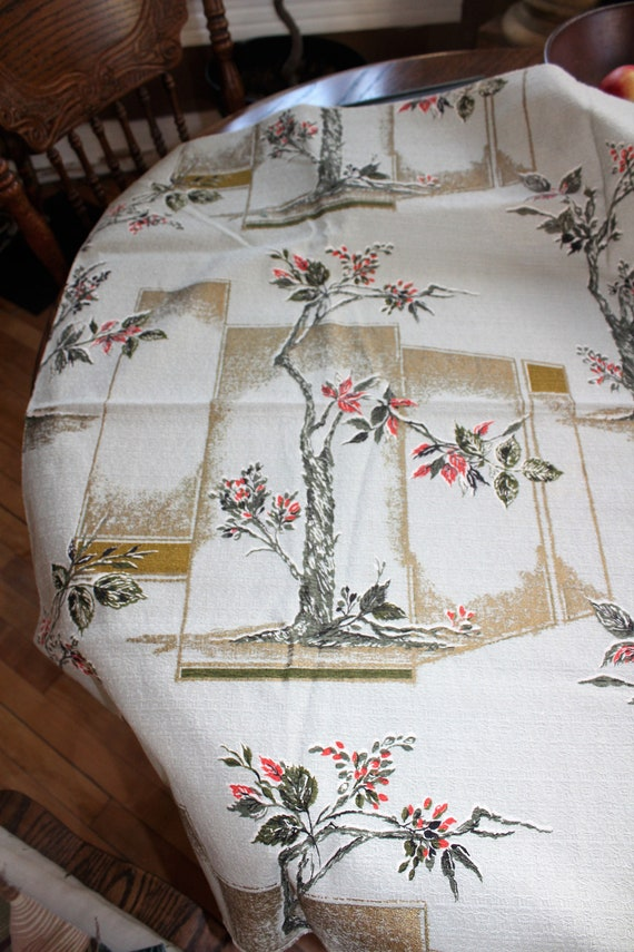 Vintage 1950s Barkcloth Fabric Mid Century Flowers 46 x 36 Inches
