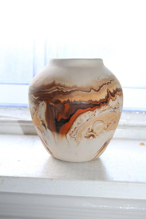 Vintage Nemadji Pottery Vase 5 Inch Swirl Pottery