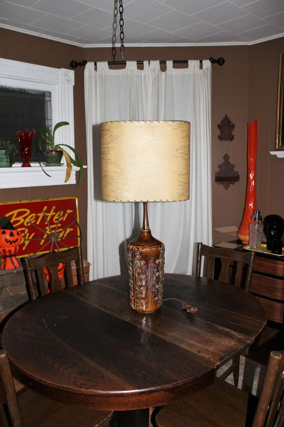 Vintage Mid Century Lamp and Oval Shade with Unique Back 1950s