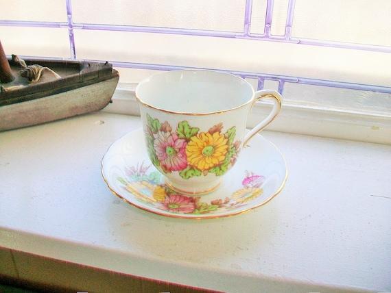 Victoria Teacup and Saucer Chrysanthemum C & E Bone China Vintage 1950s