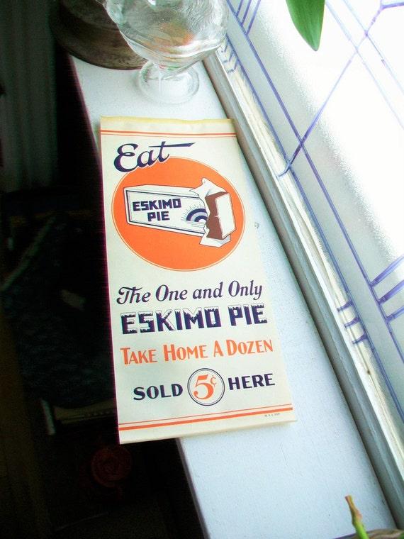 Vintage 1920s Eskimo Pie Paper Sign Ice Cream Sign
