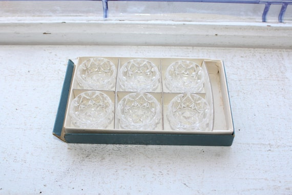 Vintage Crystal Glass Salt Dips Set of 6 1950s