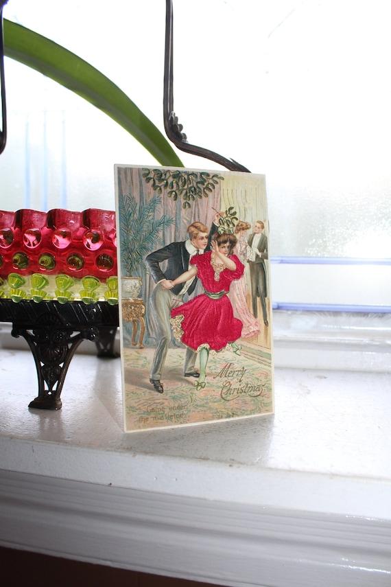 Antique Christmas Postcard Victorian Dancers Under Mistletoe 1900s