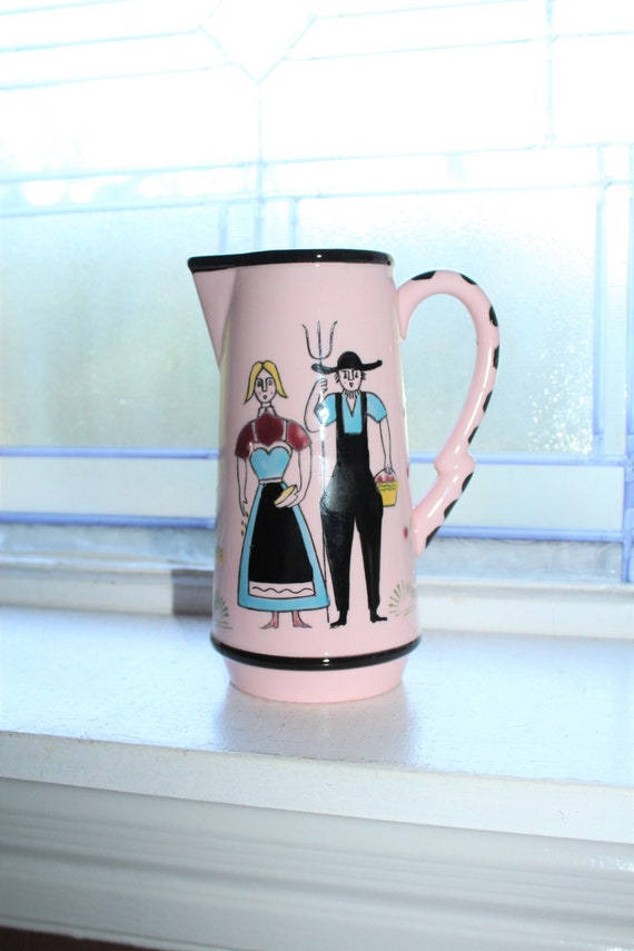 Vintage Milk Pitcher Homesteaders Farmers in Pink and Black