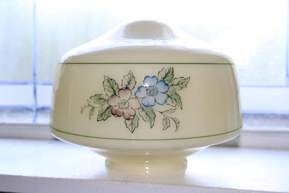 Vintage Light Fixture Globe Shade Floral Decor