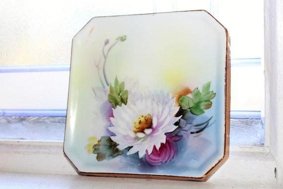 Vintage Noritake Porcelain Trivet Tea Tile Flowers