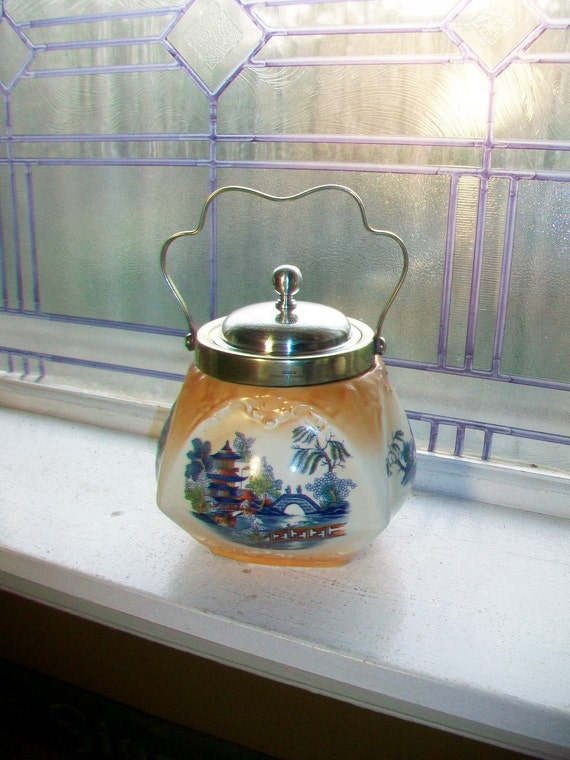 Antique Biscuit Jar Porcelain and Silverplate 1902 Presentation Piece Asian Scene Cookie Jar