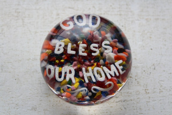 Antique Frit Glass Paperweight God Bless Our Home