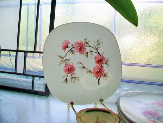 Coral Pine Bread and Butter Plates Set of 6 Edwin Knowles Criterion Shape Vintage 1960s