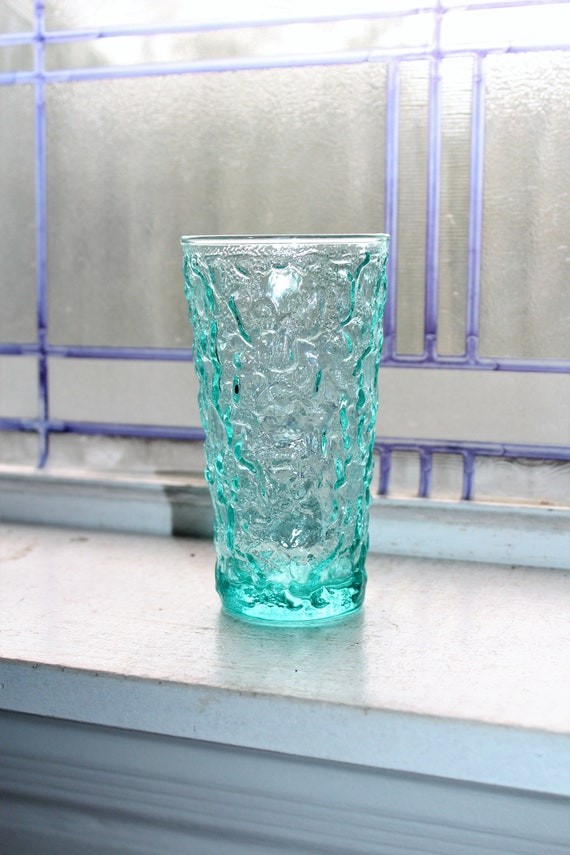"Blue Glass Tumbler 5 1/2"" Lido Milano Vintage 1960s Crinkle Glass"