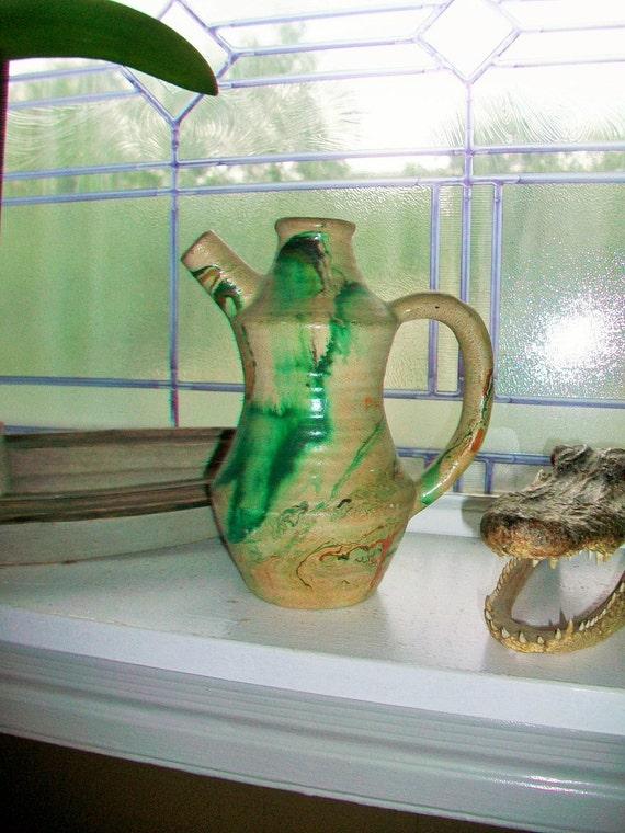 Vintage Nemadji Pottery Pitcher Ewer Carafe