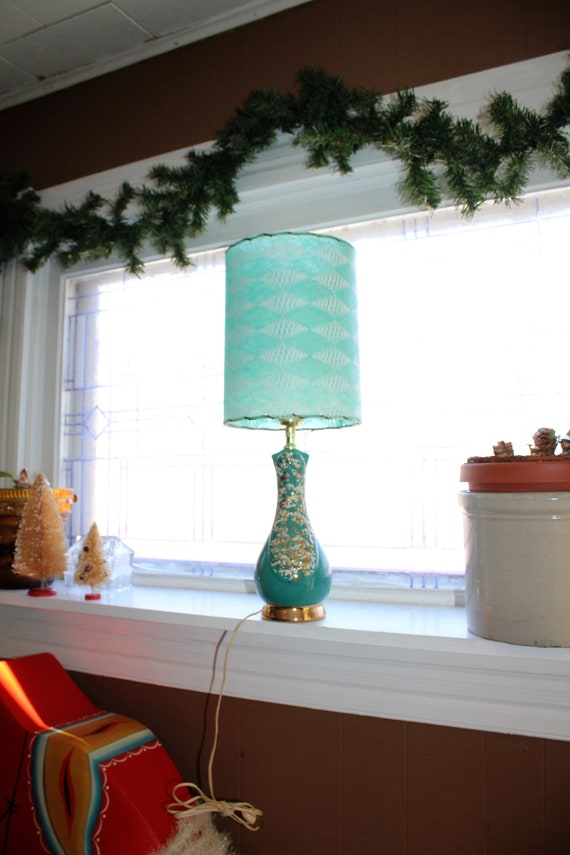 Mid Century Accent Lamp Turquoise & Gold with Fiberglass Shade 1950s