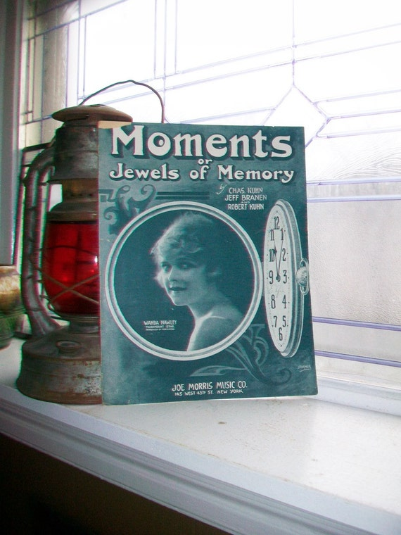 Vintage Sheet Music 1919 Moments or Jewels of Memory