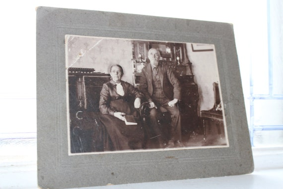 Antique Cabinet Card Photograph Elderly Couple In The Parlor 1800s