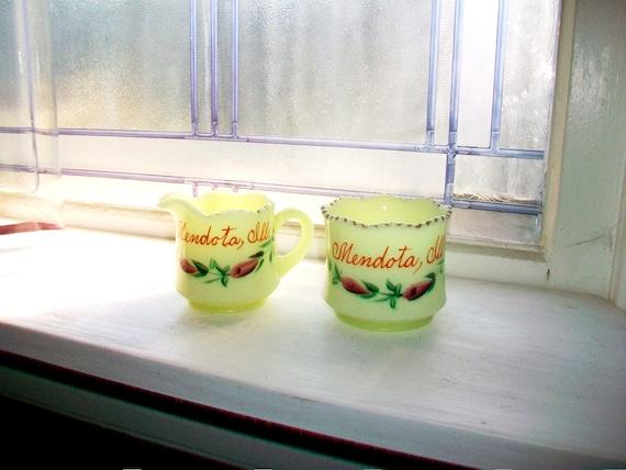 Souvenir Creamer & Sugar Mendota, Illinois Vintage Custard Glass 1910s
