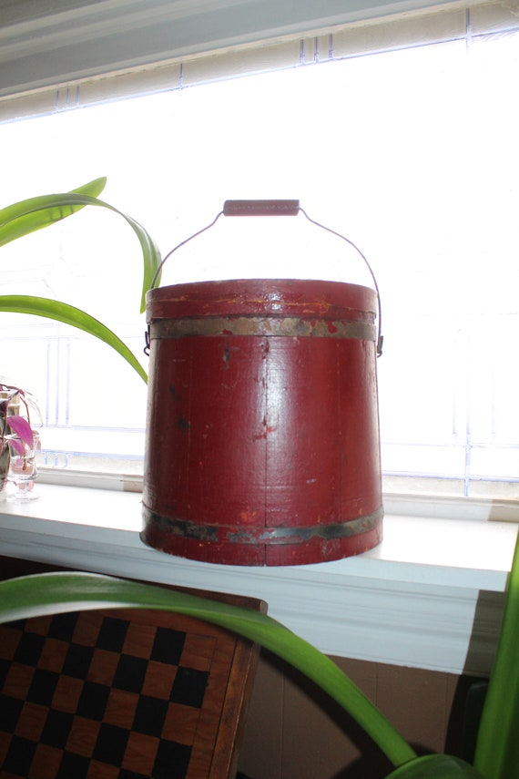 Antique Wood Firkin Sugar Bucket with Red Paint Rustic Farmhouse Decor