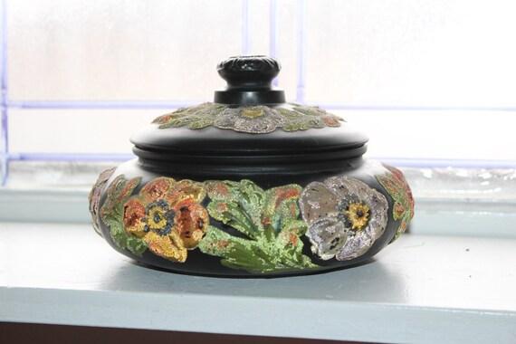 Vintage Black Satin Tiffin Glass Jar Painted Poppi