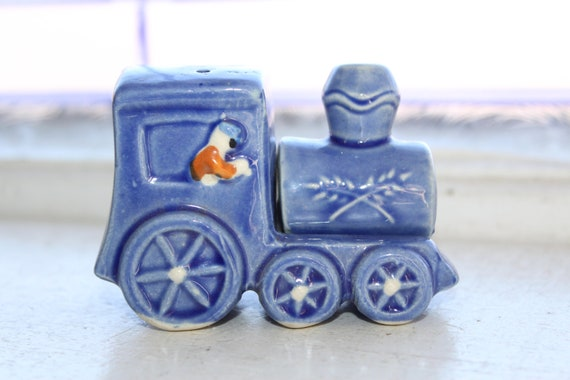 Vintage Stacking Salt and Pepper Shakers Blue Train