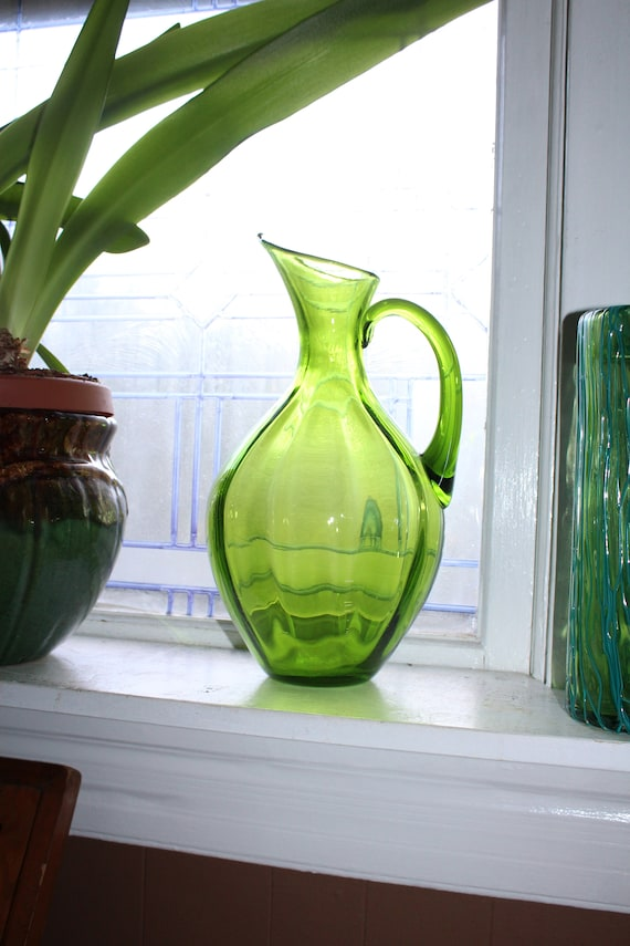 "Large Vintage Blenko Pitcher 13 1/2"" Ribbed Lime Green 991"