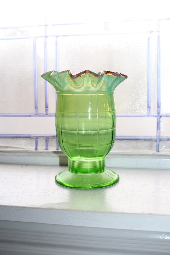Antique Green Glass Celery Vase Ruffled Rim Red Trim Opalescent EAPG