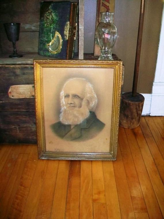 Antique Framed Portrait Elderly Bearded Man 1800s P.J. Pugsley