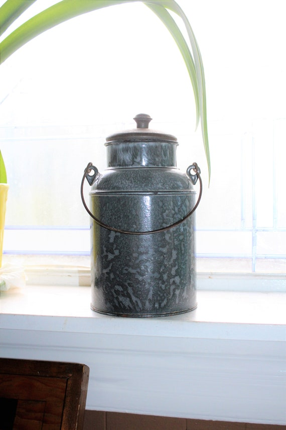 Antique Graniteware Cream Pail Gray Enamelware
