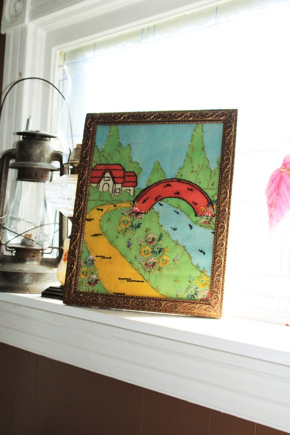 Antique Cross Stitch Embroidery Framed Country Scene Farmhouse Decor