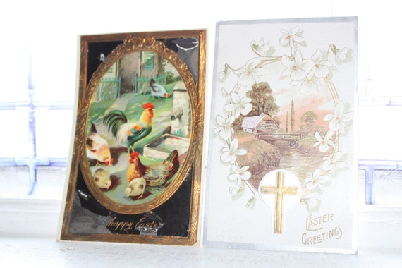 2 Antique Postcards Easter Chickens