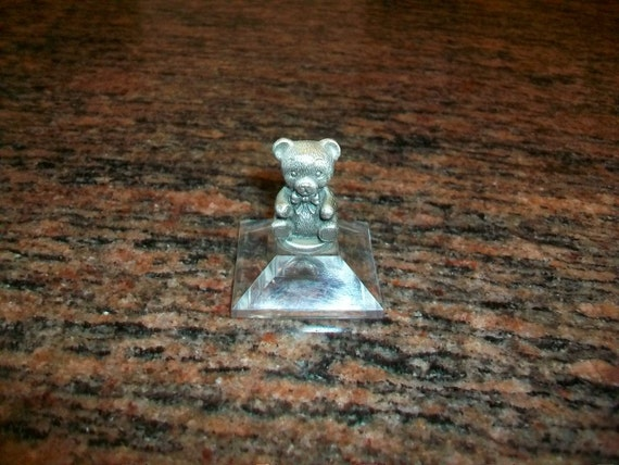 Russ Berrie Pewter Teddy Bear On Lucite Base Vintage 1980s