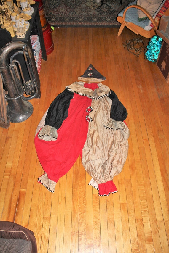 Vintage 1920s Clown Costume with Hat Adult Size Large