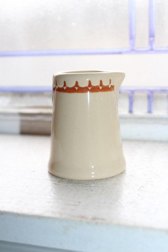 Vintage Restaurant Ware Individual Size Creamer Tan with Brown Trim
