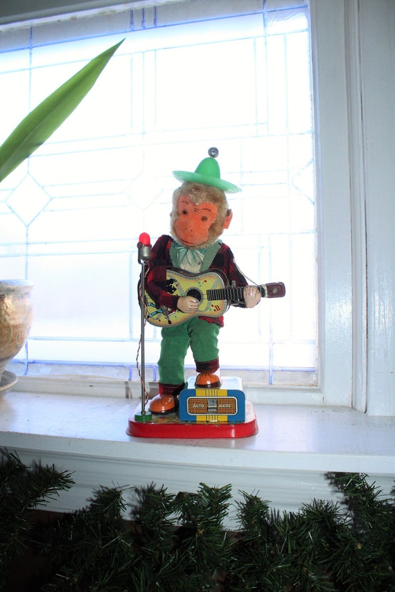 1950s Rock N Roll Monkey Guitar Player Battery Operated Toy Alps Japan