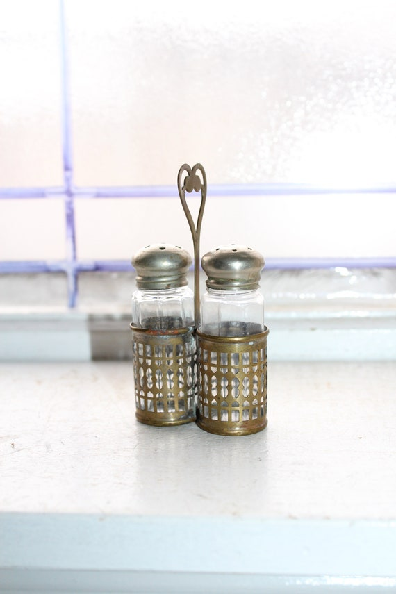 Antique Silverplate and Glass Salt and Pepper Shaker Set