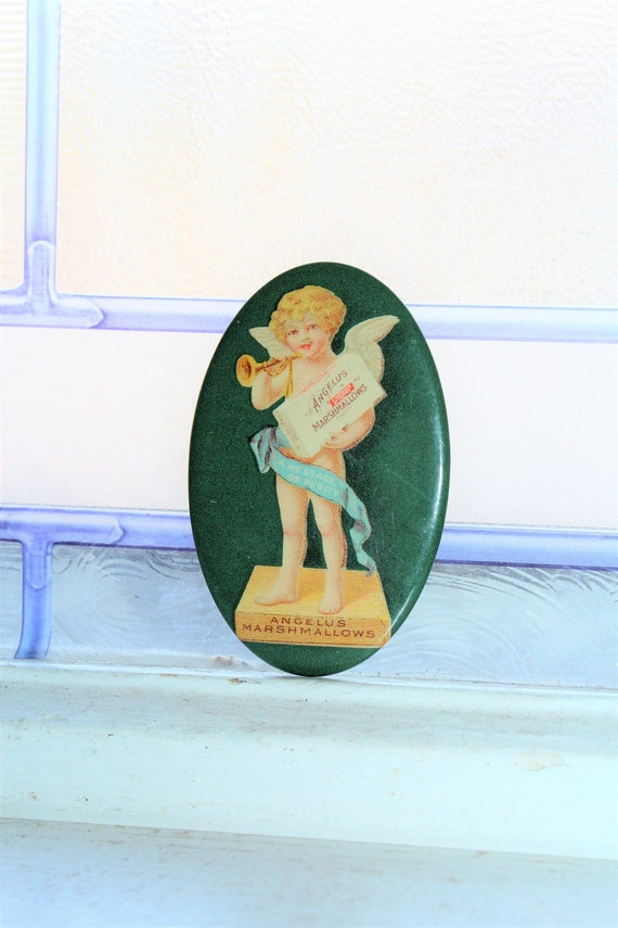 Antique Angelus Marshmallows Pocket Mirror Vintage Advertising 1910s