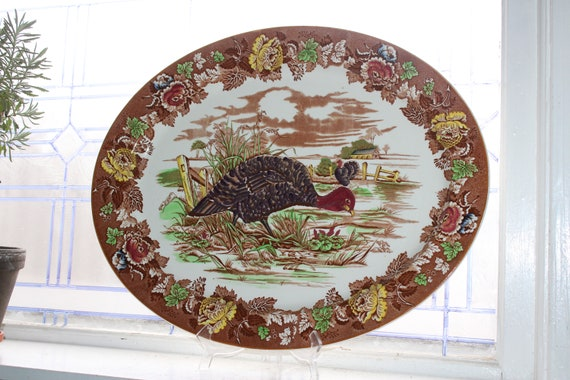 Huge Vintage Turkey Platter Wood's Burslem English Transferware