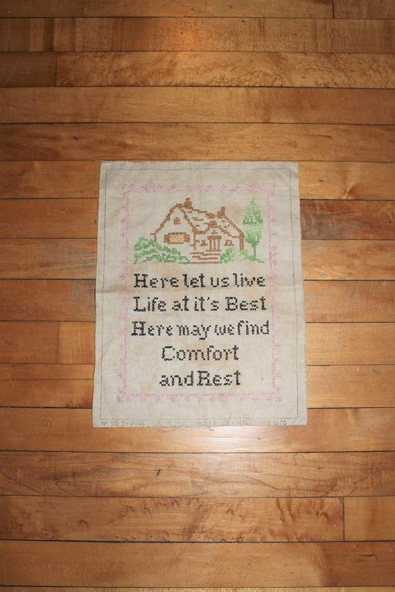 Vintage Cross Stitch Sampler Country Home 1930s