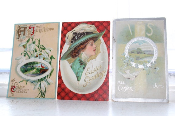 3 Antique Postcards Easter Victorian